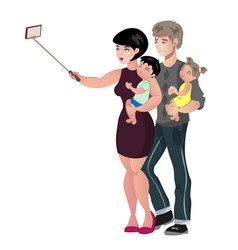 happy family with baby making selfie vector image