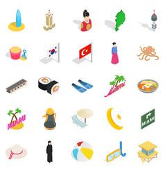 Hostelry icons set isometric style vector
