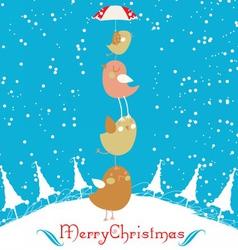 merry christmas card with christmas bird vector image