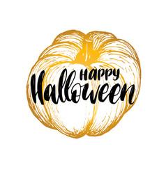 Pumpkin with happy halloween vector