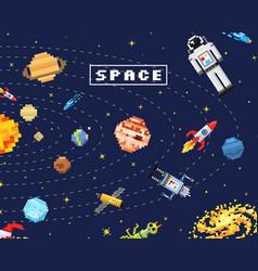 space background alien spaceman robot rocket and vector image vector image
