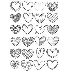 0052 hand drawn scribble hearts vector