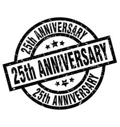 25th anniversary round grunge black stamp vector