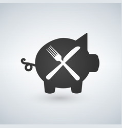 a fork and knife with a pig vector image