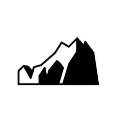 abstract mountain rock black flat icon vector image
