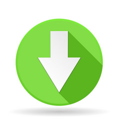 Arrow icon green round sign with shadow down vector