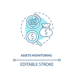 Assets monitoring concept icon vector