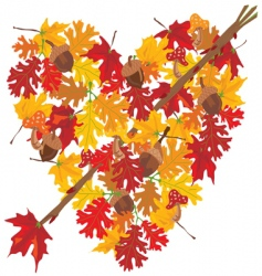autumn heart vector image