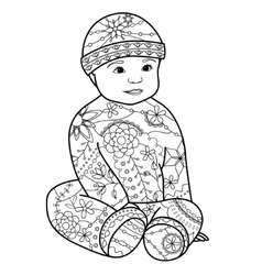 Baby boy coloring vector image