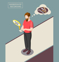 barbershop recording isometric background vector image