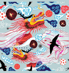Beautiful bright chinese pattern with dragons vector