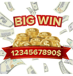 big win isolated golden casino treasure vector image