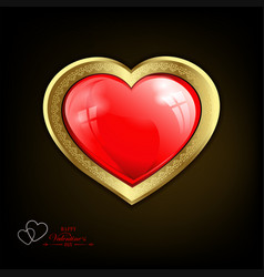 Black design with a red heart with gold border vector