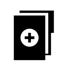 Black icon medical history folder vector