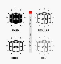 Box labyrinth puzzle solution cube icon in thin vector