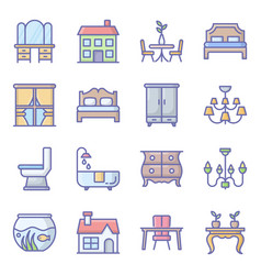 Building decor flat icons pack vector