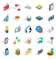 Business communication icons set isometric style vector