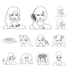 care of hair and face outline icons in set vector image