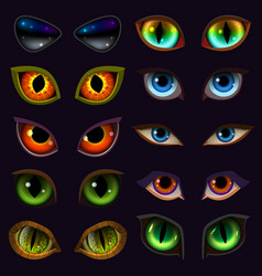 Cartoon eyes devil eyeballs of beast or vector