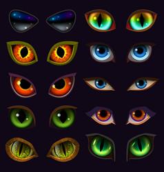 Cartoon eyes devil eyeballs of beast vector