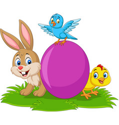 cartoon rabbit with baby chick bluebird and egg o vector image