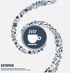 Coffee cup in the center Around the many beautiful vector image