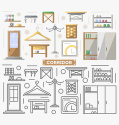 Corridor furniture set in flat style vector
