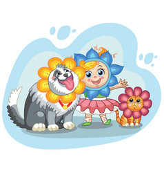 cute girl cat and dog with headgear vector image