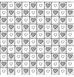 Cute simple seamless checkered pattern with hearts vector