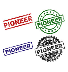 Damaged textured pioneer stamp seals vector