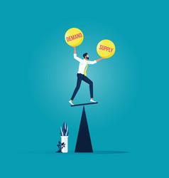 Demand and supply balance-economic concept vector