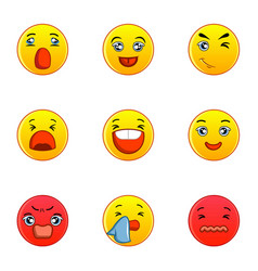Different type of emotion icons set flat style vector