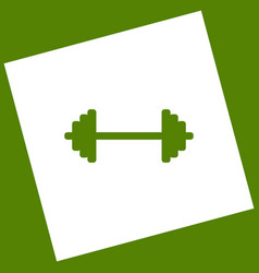 dumbbell weights sign white icon obtained vector image vector image