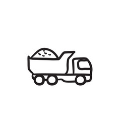 Dump truck sketch icon vector