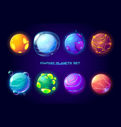 fantasy space planets for ui galaxy game vector image