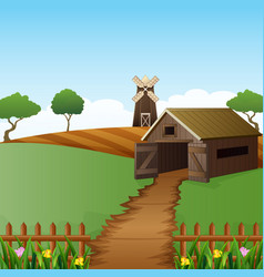 Farm landscape with shed and windmill vector