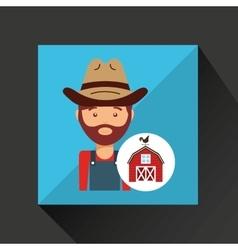 Farmer and farm icon vector