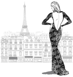 Fashion woman model in beautiful dress on Paris ci vector
