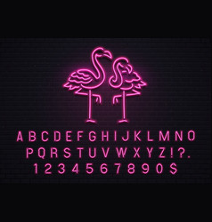 Flamingo neon sign pink 80s font tropical vector