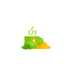 flat cartoon characters tea croissant icon bakery vector image