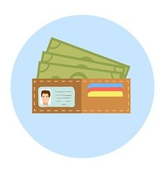 Flat Design Wallet with Money vector image