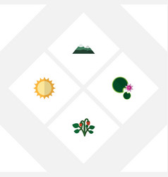 flat icon nature set of solar berry peak and vector image