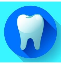 Flat tooth Icon with long shadow Dentist vector