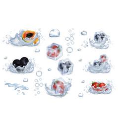Frozen berries and fruits in water splashes set vector