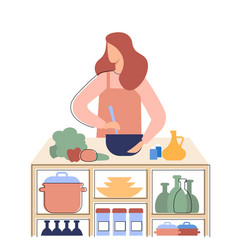 girl prepares healthy food in kitchen a vector image