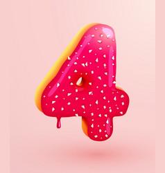 Glazed donut font number 4 number four cake vector