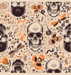 Gorgeous floral seamless pattern with skeleton vector