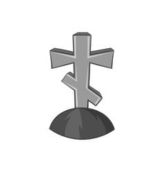 Grave cross icon black monochrome style vector