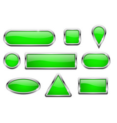 Green glass buttons with chrome frame vector