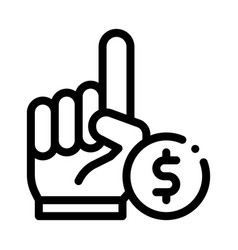 Hand sign money betting and gambling icon vector